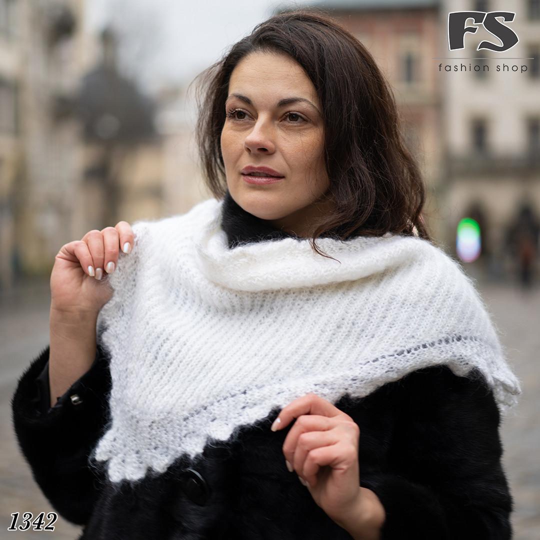Оренбургский белый пуховый платок-косынка Беата 120 см х 80 см