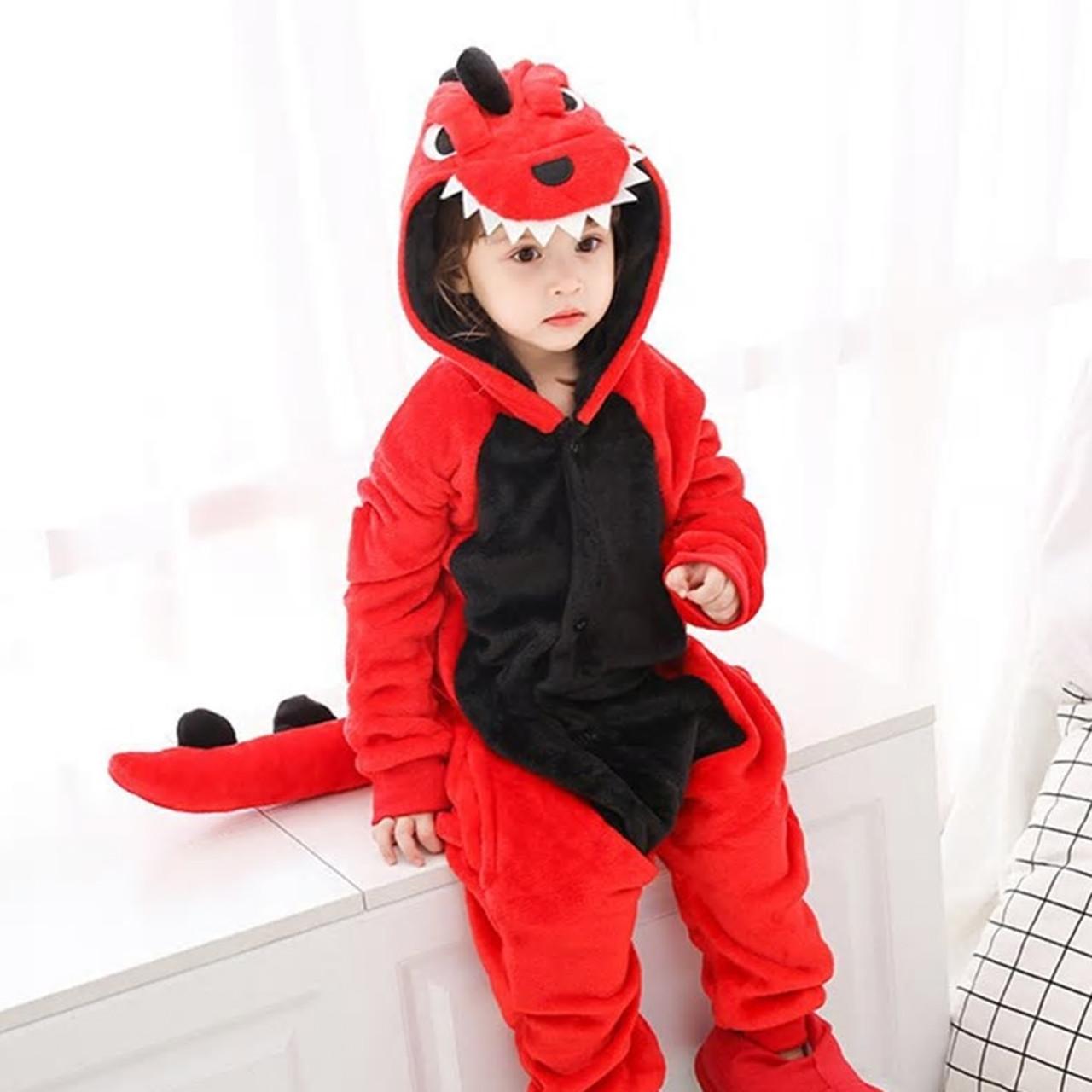 Кигуруми Дракон красный пижама цельная детская комбинезон унисекс р.130