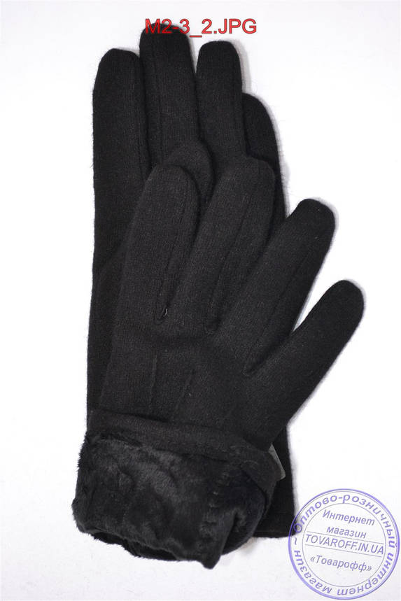 Оптом мужские кашемировые перчатки на плюше - M2-3, фото 2