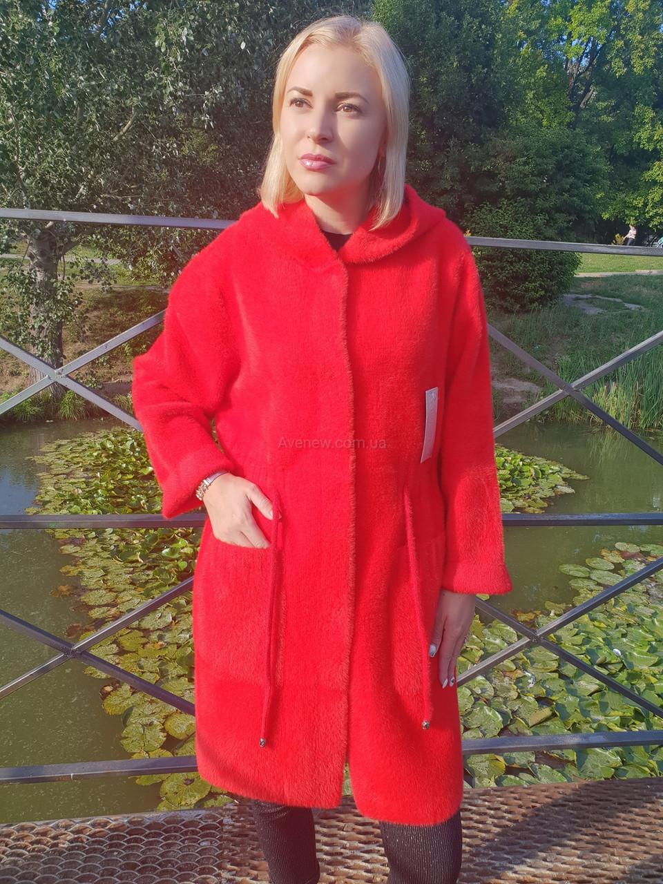 Осеннее пальто из шерсти альпака с капюшоном
