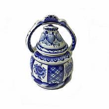 Медовница с ручкой керамическая роспись Гжель