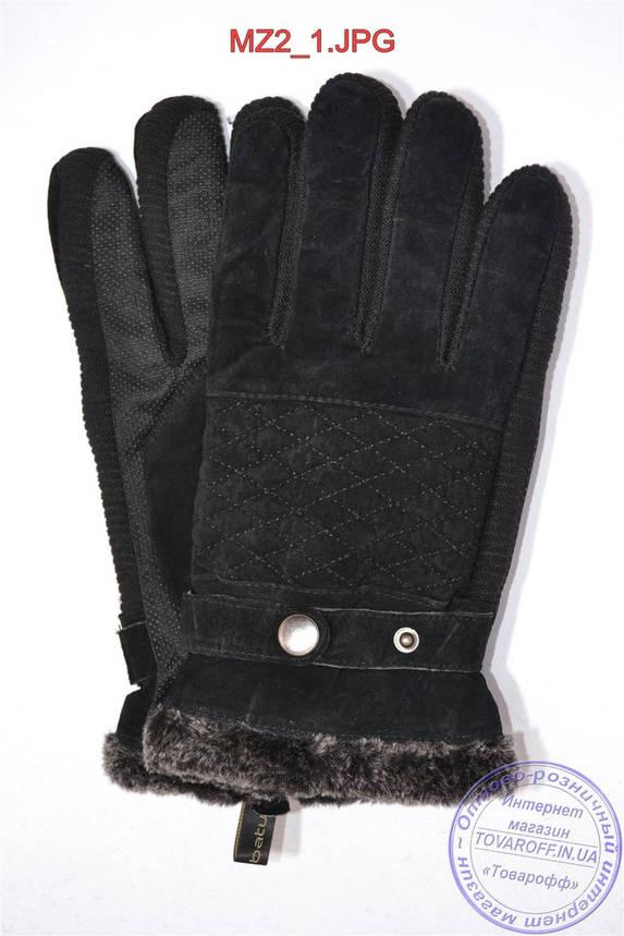 Оптом мужские замшево-трикотажные перчатки - Черные - MZ2, фото 2