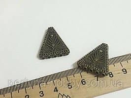 Фурнітура конектор Трикутник Ажурний великий,  25/ 5мм. Колір бронза темна. Коннектор для бижутерии. 1 штука
