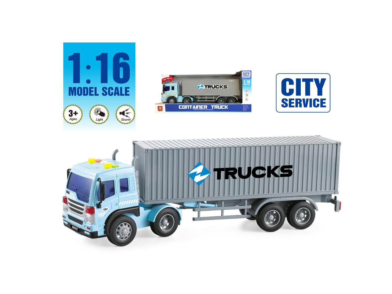 Фрикционная машина грузовик с контейнером, свет, звук