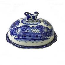Масленка с крышкой керамическая роспись гжель Домик в деревне