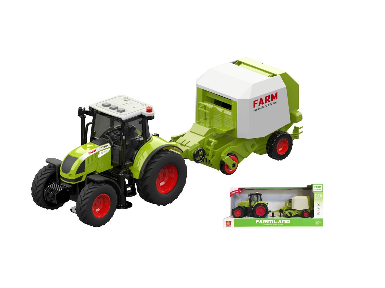 Фрикционный трактор с сеялкой, свет, звук