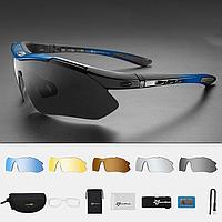 Велосипедные очки ROCKBROS 10001 поляризационные с 6 линзами и диоптриями, синие