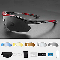 Велосипедные очки ROCKBROS 10001 поляризационные с 6 линзами и диоптриями, красные