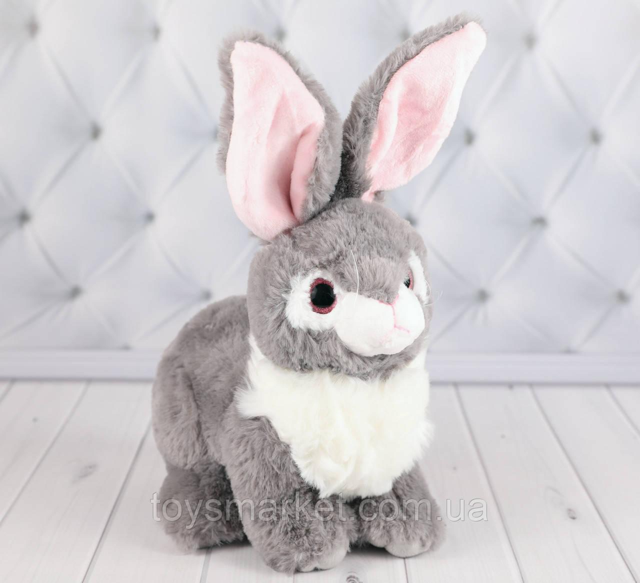 Мягкая игрушка зайка Пушинка серый, плюшевый зайка 20 см.