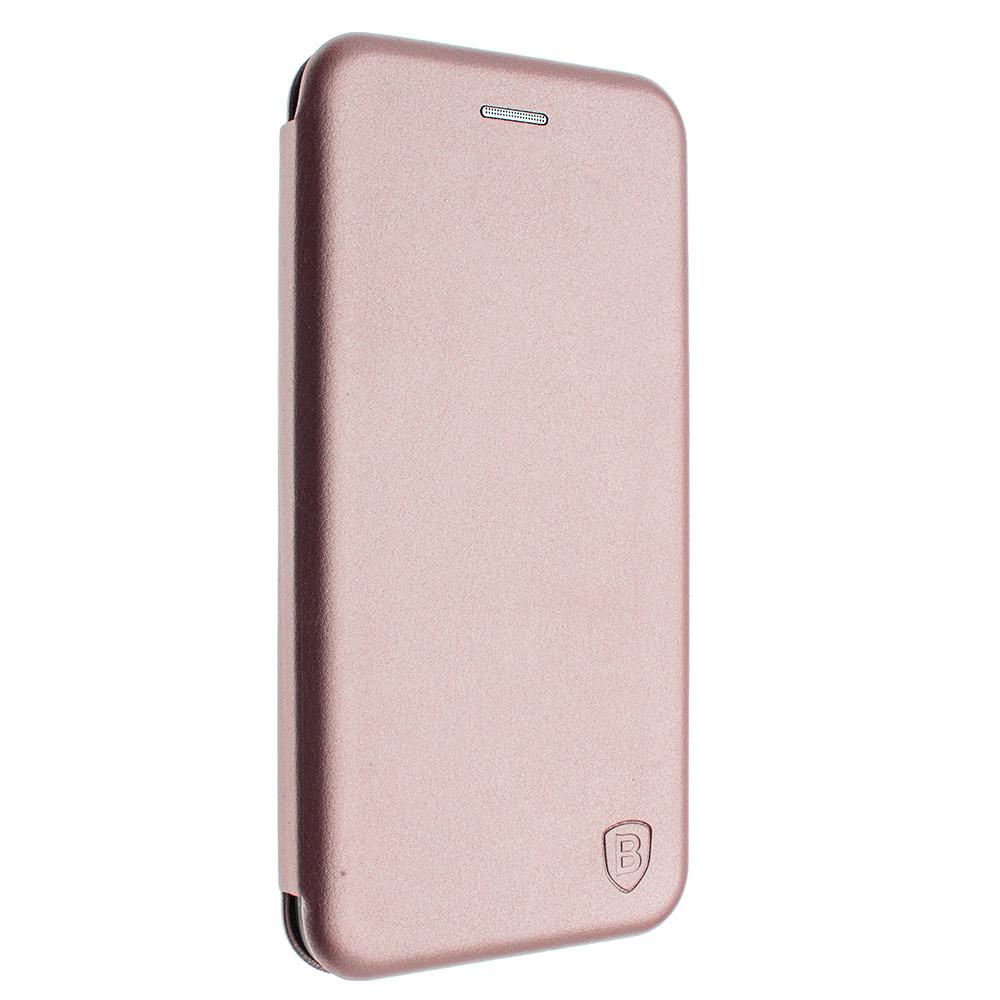 Чехол-книжка для Huawei P Smart Plus розовое золото, кожаный