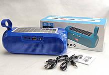 Портативная беспроводная bluetooth юсб колонка музыки блютуз акустика с солнечной батареей для телефона синяя, фото 2