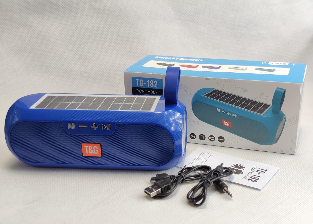 Портативная беспроводная bluetooth юсб колонка музыки блютуз акустика с солнечной батареей для телефона синяя