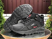 Мужские зимние кроссовки Nike Huarache Arcnm (черно-красные) KS 1572
