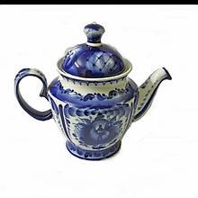 Чайник заварочный керамический роспись гжель Незабудка