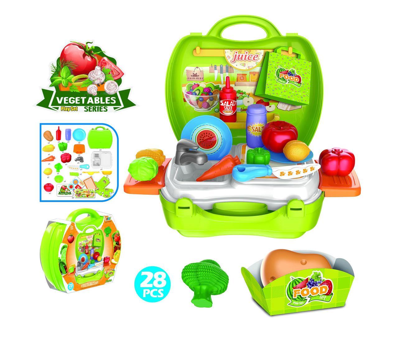 Набор игрушечный с овощами в чемодане, 28 элементов
