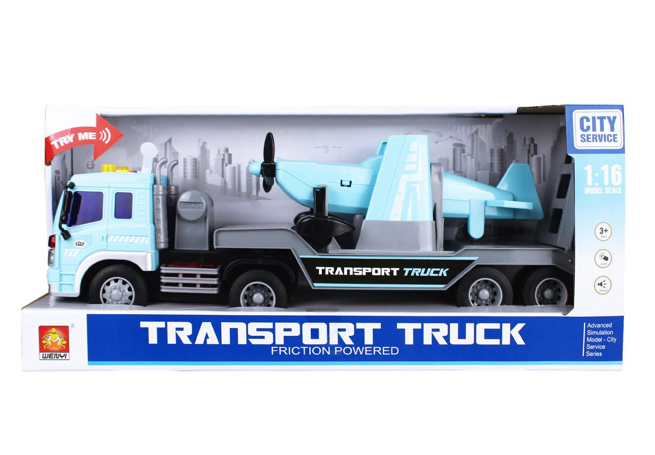 Фрикционная машина грузовик с самолетом, свет, звук