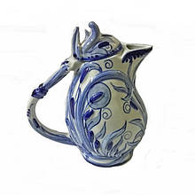 Керамический чайник роспись в стиле гжель
