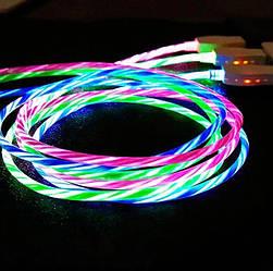 USB Type-C кабель со струящейся подсветкой 2А, 1м - высокое качество - разноцветный