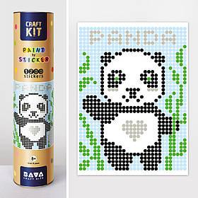 "*Картина по номерам стикерами в тубусе ""Панда"", 33х48см, 1200 стикеров."
