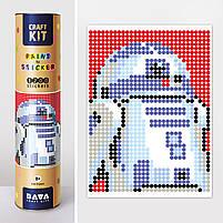 "*Картина по номерам стикерами в тубусе ""Робот синий"", 33х48см, 1200 стикеров., фото 2"