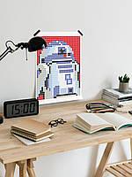 "*Картина по номерам стикерами в тубусе ""Робот синий"", 33х48см, 1200 стикеров., фото 5"