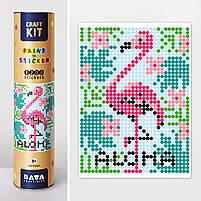 "*Картина по номерам стикерами в тубусе ""Фламинго"", 33х48см, 1200 стикеров., фото 2"