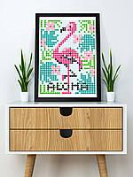 "*Картина по номерам стикерами в тубусе ""Фламинго"", 33х48см, 1200 стикеров., фото 5"