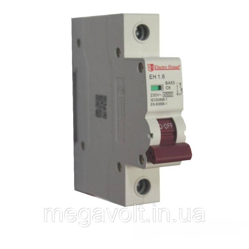 Автоматический выключатель 1P 6A 4,5kA 230-400V IP20