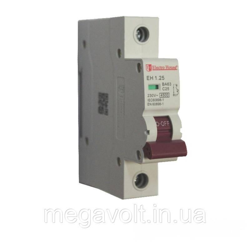 Автоматический выключатель 1P 25A 4,5kA 230-400V IP20