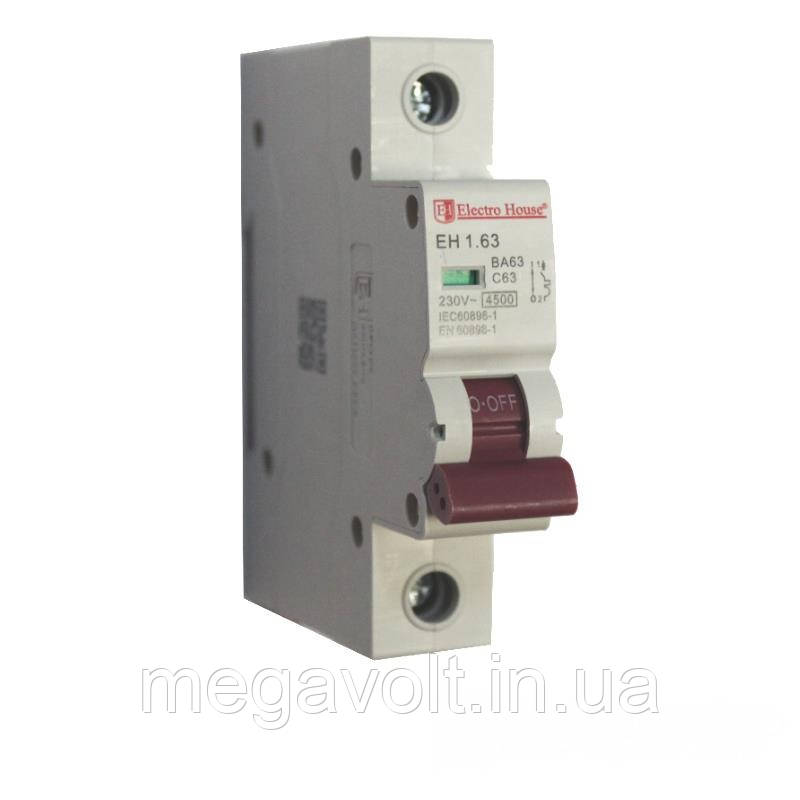 Автоматический выключатель 1P 63A 4,5kA 230-400V IP20