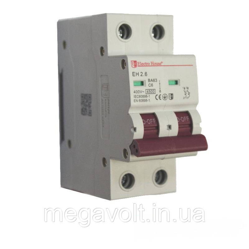 Автоматический выключатель 2P 6A 4,5kA 220-240V IP20