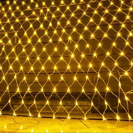 LED Гирлянда-сетка 120 лампочек 1,5 м*1,5 м Белый Теплый, фото 2