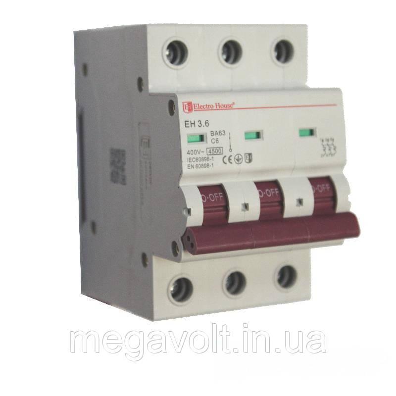 Автоматический выключатель 3P 6A 4,5kA 230-400V IP20
