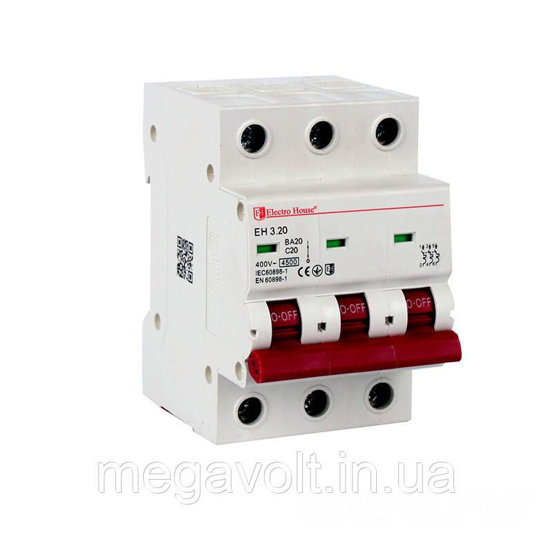 Автоматический выключатель 3P 20А 4,5kA 230-400V IP20