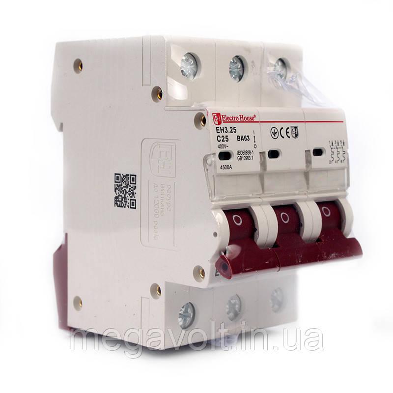 Автоматический выключатель 3P 25A 4,5kA 230-400V IP20