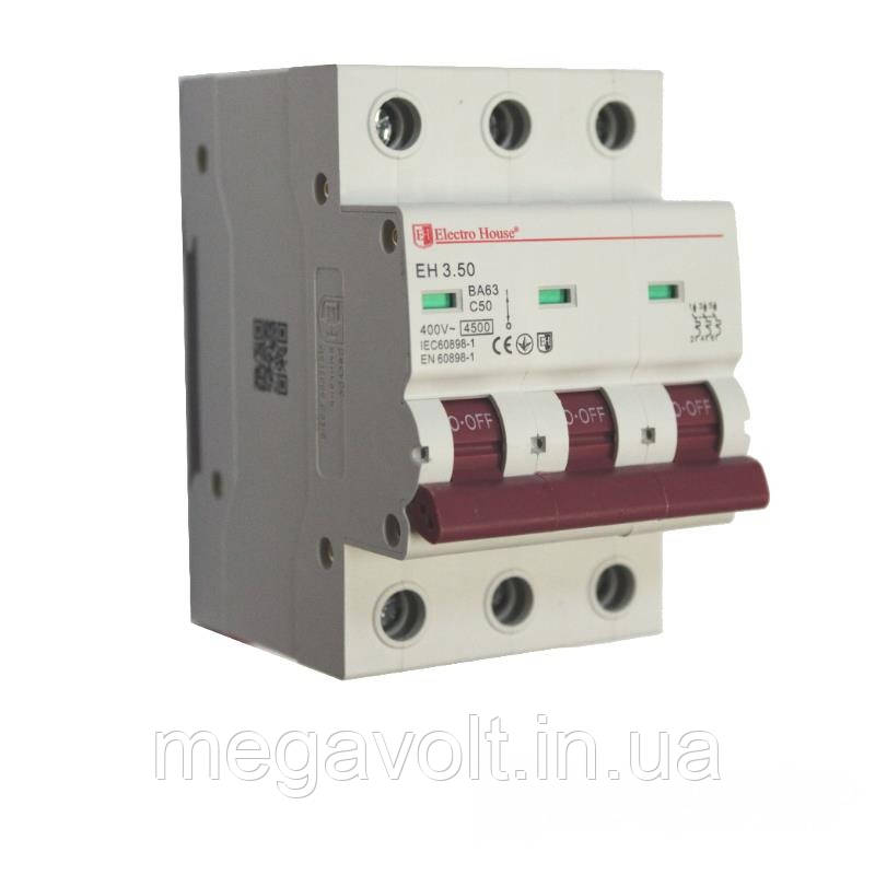 Автоматический выключатель 3P 50A 4,5kA 230-400V IP20