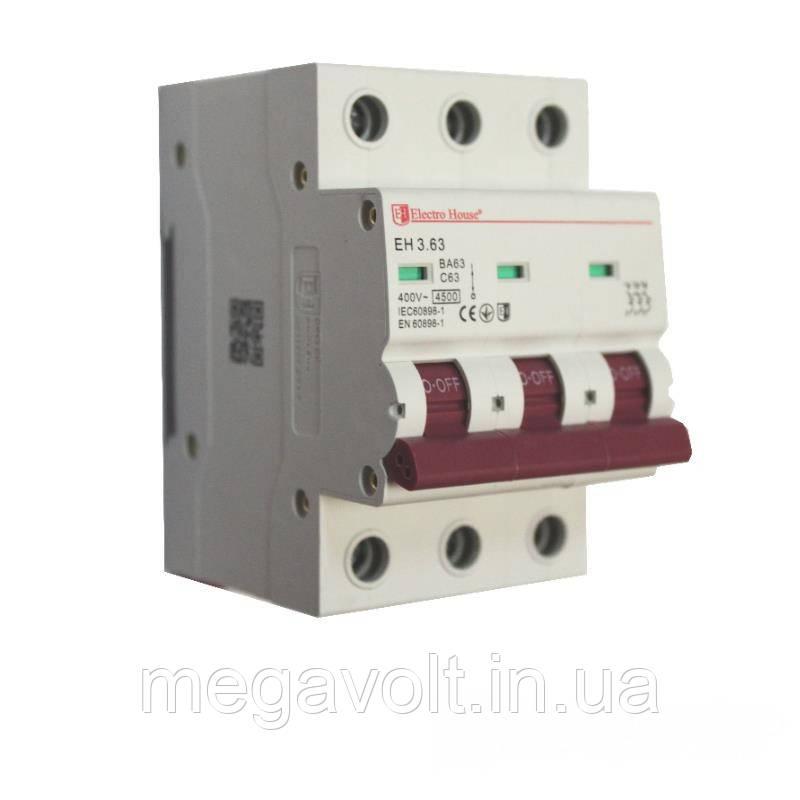 Автоматический выключатель 3P 63A 4,5kA 230-400V IP20