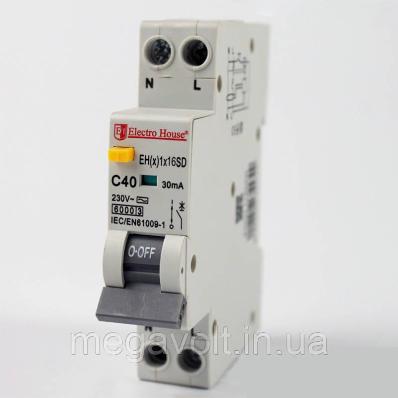 ДИФ Автомат 16А 1P+N(1 модуль) 30mA 6kA  230-240V  IP20