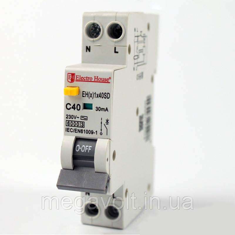 ДИФ Автомат 40А 1P+N(1 модуль) 30mA 6kA  230-240V  IP20