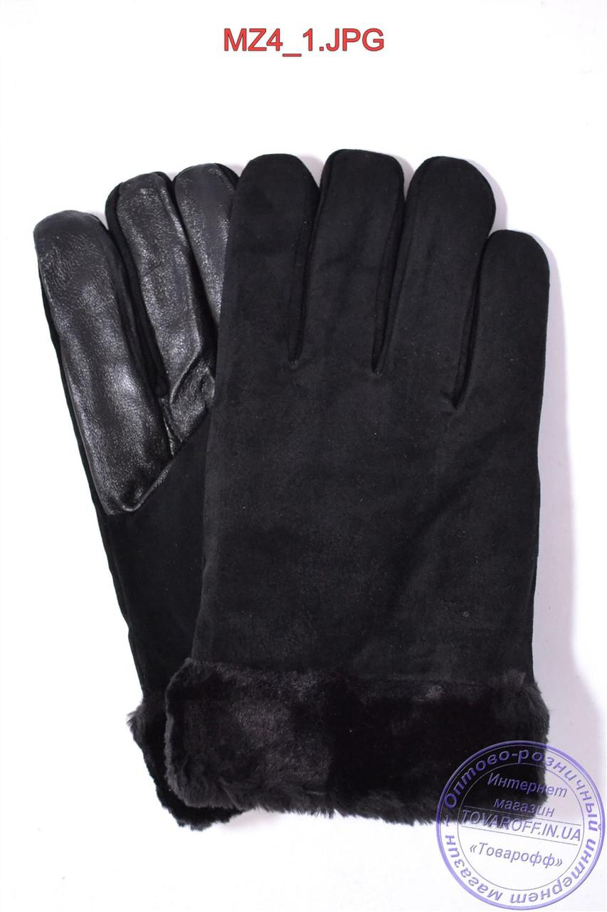Оптом мужские замшевые перчатки с кожаной ладошкой на меху - Черные - MZ4