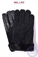 Мужские замшевые перчатки с кожаной ладошкой на меху - Черные - MZ4, фото 1