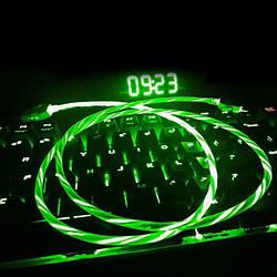 USB Type-C кабель со струящейся подсветкой 2А, 1м - высокое качество - зеленый