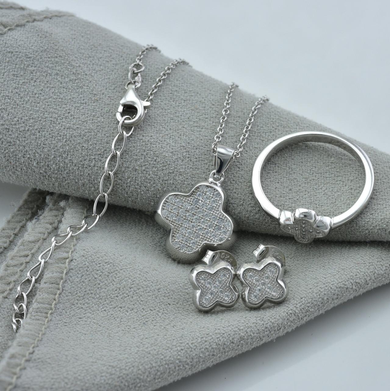 Серебряный набор кольцо размер 18 + серьги 8х8 мм +цепочка 40+5 см + кулон 23х15 мм вставка белые фианиты