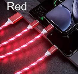 USB Type-C кабель со струящейся подсветкой 2А, 1м - высокое качество - красный