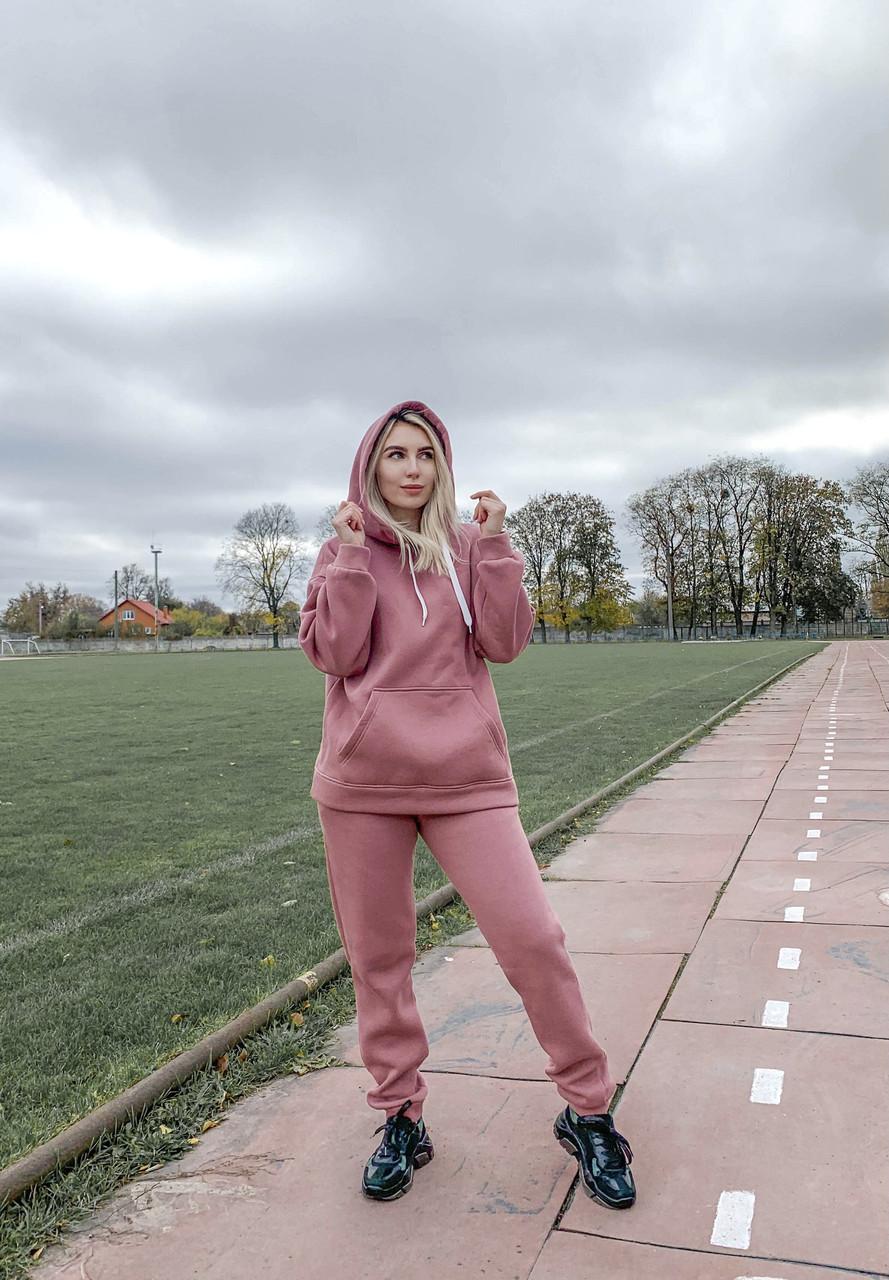 Костюм женский утеплённый худи с капюшоном и штаны, цвет пудра размер S,M