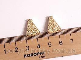Фурнітура конектор Трикутник , 16/ 5мм. Колір золотий. Коннектор для бижутерии. 1 штука