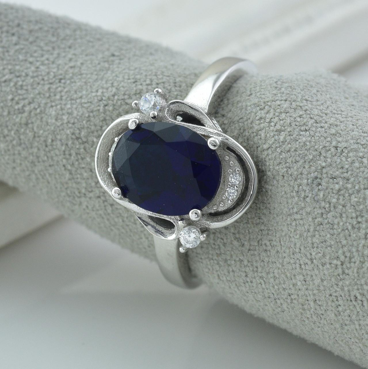 Серебряное кольцо размер 17 вставка синие фианиты вес 4.55 г