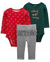 Чудовий бавовняний набірчик - два боді та штанці з рюшами Картерс для дівчинки