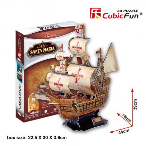 Трехмерная головоломка-конструктор корабль Санта Мария cubicfun (T4031h)