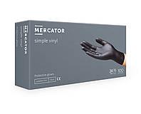 Перчатки Виниловые MERCATOR simple vinyl PF Black Неопудренные (100 шт./уп.) Черные